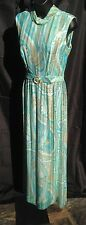 Nat Kaplan Vintage Long Dress Evening Gown Blue Straight Column Maxi Shimmer Sm