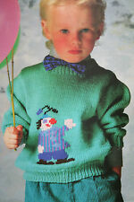 Boys and Girls Jumper with Clown Motif Knitting Pattern