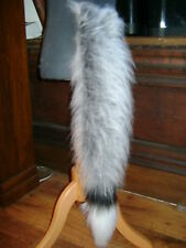 Grey/White Tip Fancy Dress Fox Tail With White/Black Luxury Fur Trim Fancy Dress