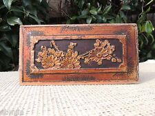150. Antique Carved Gold Gilt Wood Panel w/ Chrysanthemum