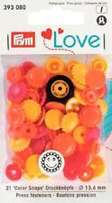 30  Nähfrei-Druckknöpfe Prym Love Color-Snaps BLUME gelb/rotTorange  393 081