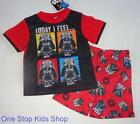 STAR WARS Boys Size 4 6 8 10 Pjs Set PAJAMAS Shirt Shorts Darth Vader