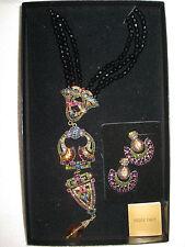 Heidi Daus Art Deco Multi-colored Jet Black beaded Fan Necklace & clip earrings