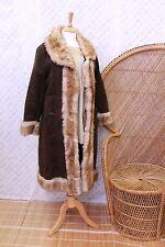 Vintage Suede Afghan sheepskin Fur embroidered 70s penny lane coat jacket M L