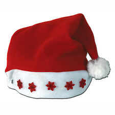 Santa LIGHT-UP RED SNOW-FLAKE Santa Hat - Christmas Holiday Blinking Party Cap