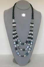 Green jade beads and white freshwater pearl 24 to 32-inch 3-strand necklace, New