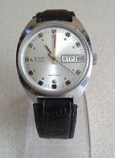 Vintage Slava 2427 chrome plated Men's mechanical USSR wristwatch day/date