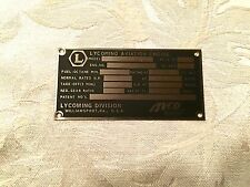 NOS Lycoming Engine Data Plate