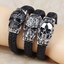 3Pcs Fashion Genuine Leather Wristband Men's Gothic Alloy Skull Bangle Bracelets