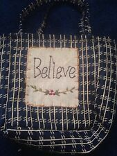 Blue Tan Cloth Patch Work Believe Purse Small Hand Bag Clutch Handle Inspiration
