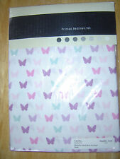 SINGLE Polycotton FITTED SHEET plus PILLOW CASE ~ WHITE with BUTTERFLIES ~ BNIP