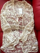 ZARA Ecru Ivory Crochet Jacket Coat Beach Overall Medium M