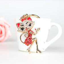 Red Crown Fox Lady Girl Accessorie Crystal Pendant Charm Purse Bag Key Chain New