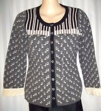 "ANTHROPOLGIE FIELD FLOWER BLACK/GRAY ""PIANO KEYS & NOTES"" CARDIGAN SWEATER  XS"
