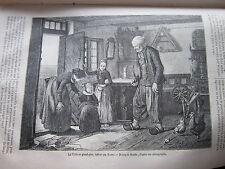 Interieur Danois visite au Grand Père 1879 Gravure Article de presse