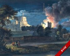 FIREWORKS AT WINDSOR CASTLE ENGLAND 1768 PAINTING BRITISH ART REAL CANVAS PRINT