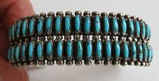 VTG Double row needle point turquoise zuni snake eye cuff bracelet sterling sil