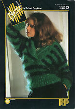 ~ Knitting Pattern For Lady's Shawl Collar Mohair Sweater ~