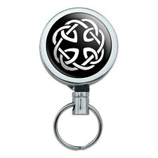 Celtic Knot Metal Retractable Reel ID Badge Key Card Holder with Belt Clip