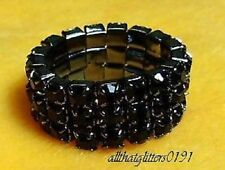 Stunning 3 Row Black Crystal / Diamante Stretchy Ring