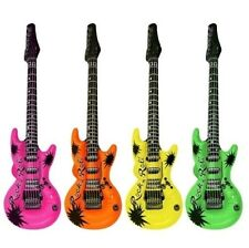 Pack De 4 Inflables Retro Color Guitarras Música Fancy Dress Stag Gallina 106 Cm Nueva
