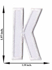 Alphabet K White Color English Letter Applique Iron on Patch Sew For T-shirt