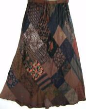912SK~TIENDA HO~Brown Plum~A-Line Skirt~Hippy Rayon~Diamond Patchwork~BOHO~OS