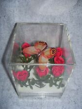 vintage music box clear plastic cube fake flowers & butterfly spins hong kong