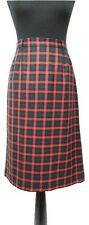 VIYELLA Skirt Size 14 Red & Green Tartan  L28in Designer Pure New Wool Summer