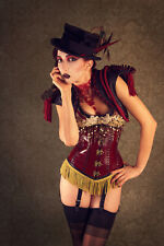 'Engineers of Desire' steampunk circus red gold leather boned corset XS S 24 25