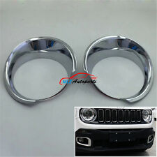For Jeep Renegade 2015 2016 Front Head Light Lamp Chrome Cover Trim Bezel Frame