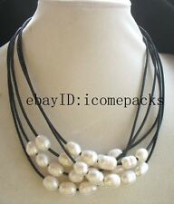 """5strands freshwater pearl white egg & black leather necklace 18"""" nature beads"""
