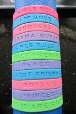20 x GIRLS RUBBER SILICONE WRISTBANDS BRACELET KID PARTY BAGS WRIST BANGLE PEACE