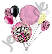 7 pc Happy Birthday Leopard Present Balloon Bouquet Jungle Cheetah Safari Pink