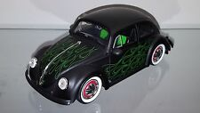 1/24 JADA 1959 VOLKSWAGEN BEETLE BUG FLAT BLACK & GREEN FLAMES MATCHING INTERIOR