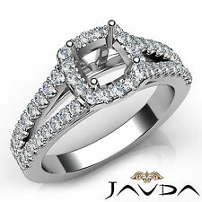 Halo Prong Cushion Cut Diamond Engagement 14k White Gold Semi Mount Ring 0.75Ct