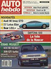 AUTO HEBDO n°665 du 1er Mars 1989 AUDI 90 IMSA GTO 405 MI164x4 309 GTI 16TURBO