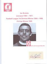 IAN ST. JOHN LIVERPOOL 1961-1971 ORIGINAL HAND SIGNED CUTTING/CARD