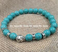 Jewelry 8mm Howlite Turquoise beads Tibet silver Buddha adjustable bracelets