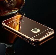 NEW ALUMINUM THIN MIRROR ROSE GOLD BLING  CASE COVER FOR APPLE iPHONE MODELS UK