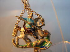 George & the Dragon pendant enamel silver on gold chain suspended 9ct gold chain