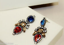 GOLD TONE DROP RED BLUE CZ TRADITIONAL STYLE DESIGNER PARTY WEDDING EARRINGS
