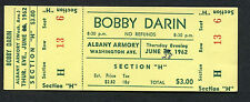 Original 1962 Bobby Darin unused full concert ticket Albany NY Mack The Knife