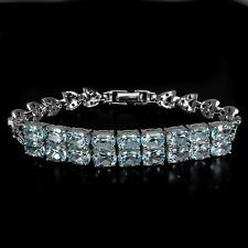 10.50ct Blue Topaz & Sapphire Bracelet in White Gold Overlay 925 Sterling Silver
