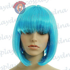 12 inch Hi_Temp Series Vibrant Light Blue A-Line Bob Short Cosplay DNA Wig 91VLB