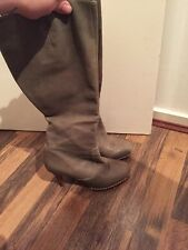 French Connection Khaki Leather Knee High Boots Size 3 Excellent Condition