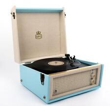 GPO BERMUNDA Turntable Retro Record Player - Blue & Cream