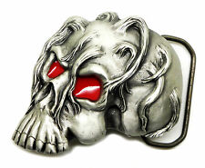 Skull Belt Buckle 3D With Red Eyes Zombie Gothic Horror Great American Products