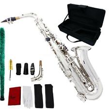 New Professional Brass Gold Eb Alto Sax Saxophone with Accessories Silver E3D5