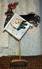 Decorative Metal And Wood Rooster Figure With Birdhouse Body For Kitchen/Garden